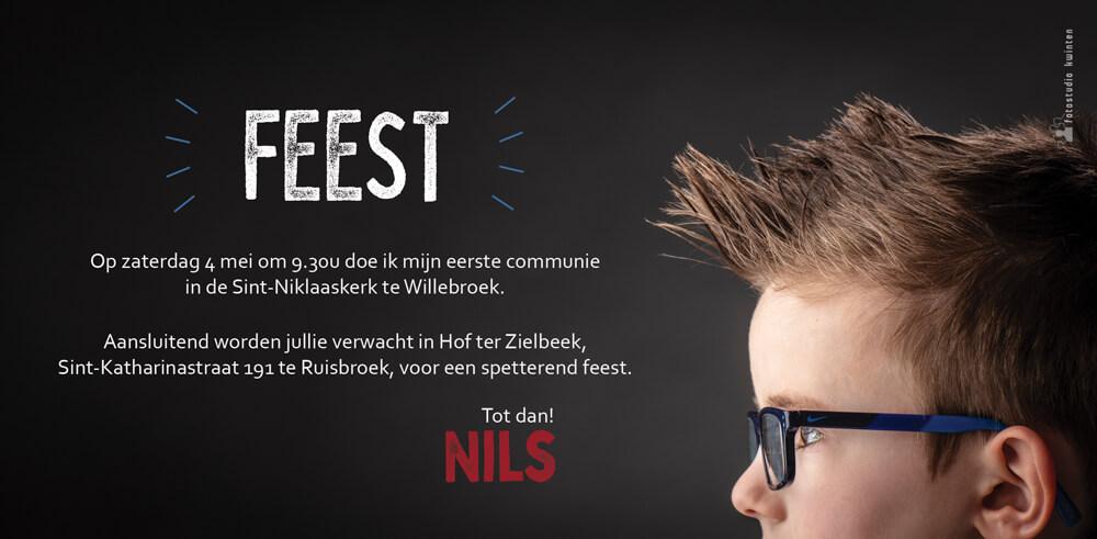 Uitnodiging communie Nils tekst