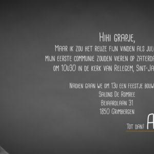communie Uitnodiging Arne