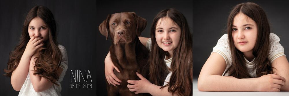 communiefoto communiekaartje meisje met hond