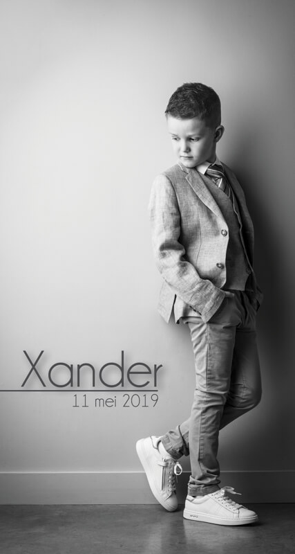communiefotos communieKaartje Xander - jongen