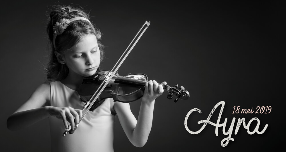 communieKaartjes Ayra viool communiefoto's lentefeest