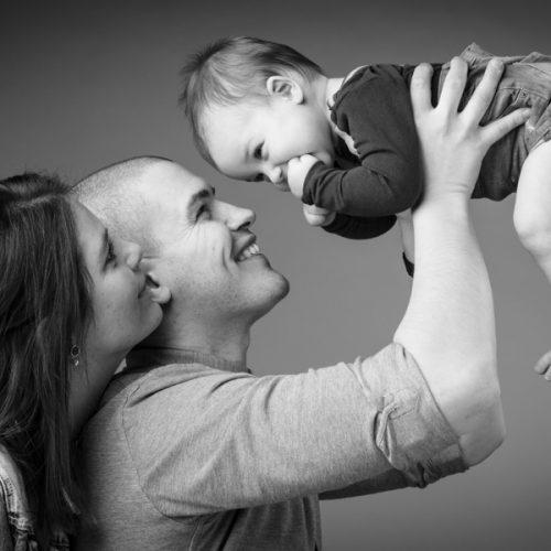 babyfoto met mama en papa